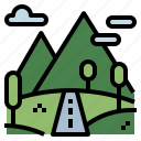 hills, mountain, nature, oxygen, trees icon