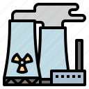 chimney, nuclear, plant, power icon