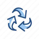 arrows, ecology, environment, recycle, recycling icon