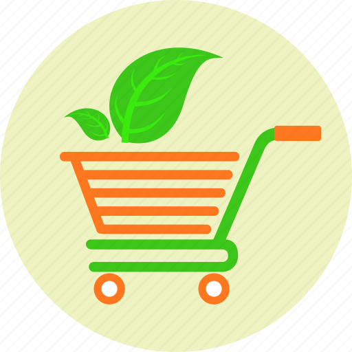 basket, biological products, cart, ecology, ecommerce, green leaf, shop icon