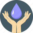 drop, eco water, ecology, environment, hands, save, water icon