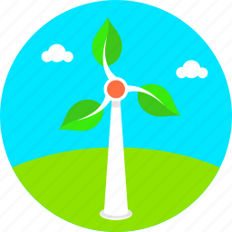 ecology, electricity, energy, green environment, renewable energy, summer, windmill icon