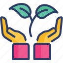care, eco, ecology, growth, hands, natur, plant icon