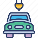 car, charge, concept, electric, plug, transport, vehicle icon