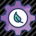 bio, eco, environment, gear, green, leaf, service icon