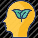 eco, ecology, idea, mind, plant, think, thinking icon