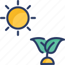 eco, garden, grass, growth, leaves, plant, sun icon