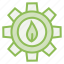 concept, eco, ecology, ecosystem, environment, gear, leaf icon