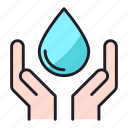care, hand, save, water icon