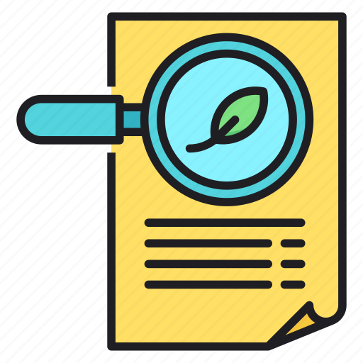 document, leaf, magnifier, search icon