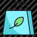 bag, leaf, shopping icon