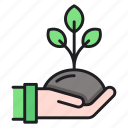 growth, hand, plant icon