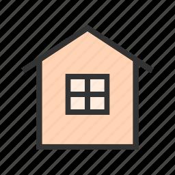 farmhouse, field, green, landscape, meadow, nature icon