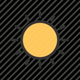 clouds, nature, orange, rays, sky, sun, sunset icon
