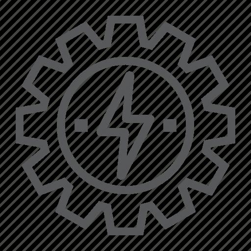 cog, development, energy, gear, lightning, thunder, wheel icon