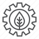 cog, gear, green, leaf, plant, technology, wheel icon