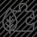 bio, eco, environmental, leaf, piece, puzzle, solution icon