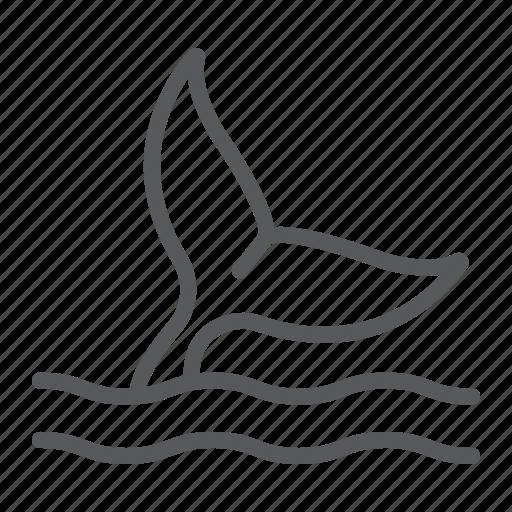 animal, aquatic, life, ocean, sea, tail, whale icon