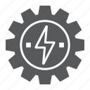 cog, development, energy, gear, lightning, thunder, wheel icon