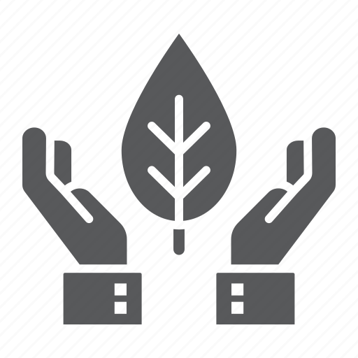 conservation, ecology, energy, hands, holding, leaf, plant icon