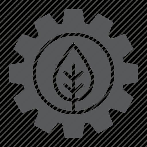 cog, gear, green, leaf, plant, technology, wheel icon