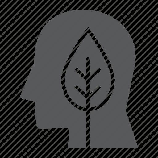 bio, ecology, energy, green, head, leaf, think icon