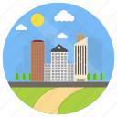 city landscape, city sunrise, cityscape, modern city, urban landscape icon