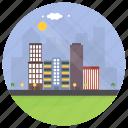city landscape, cityscape, eco building, eco city, green buildings icon