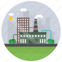 air pollution, eco industry, environmental industry, factory, recycling industry icon