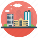 city building, downtown, modern building, skyscraper, urban buildings icon
