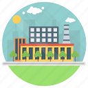 eco manufacturing, factory, industry, manufacturing plant, mill icon