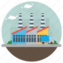 eco industry, factory, industry, manufacturing plant, mill icon