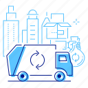 city, recycling, vehicle, garbage disposal icon
