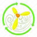 cartoon, cooler, flow, rotation, turbine, ventilator, yellow icon