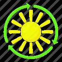 cartoon, glare, glow, heat, light, sun, sunlight icon