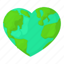 cartoon, earth, globe, heart, heart earth, map, world icon