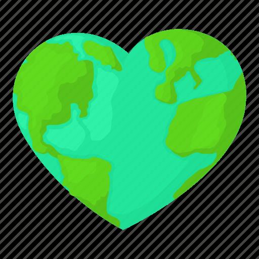 Cartoon Earth Globe Heart Heart Earth Map World Icon