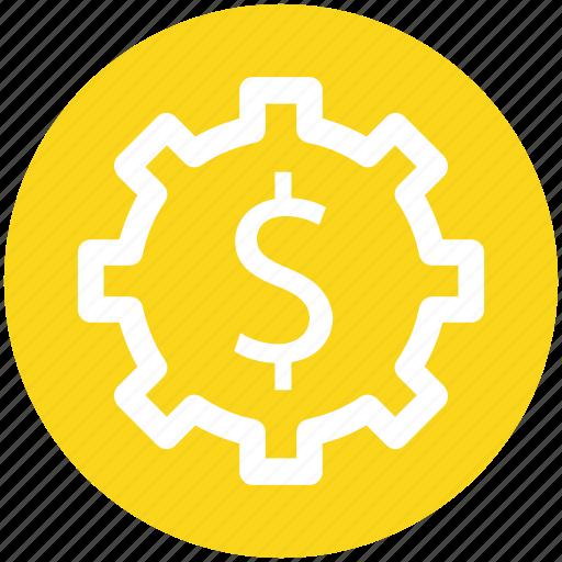 .svg, dollar, gear, money, online, rotate, work icon