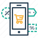 finance, label, mobile, offer, online, store, tage icon
