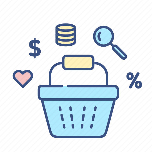 bascket icon, basket, commerce, heart, money, new, percent icon