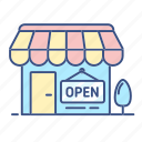 commerce, inline shop, new, open, open icon, shop icon