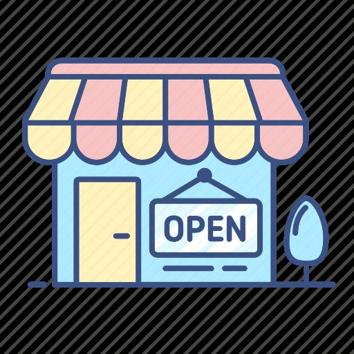 commerce, inline shop, new, open, open icon, shop icon