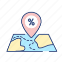 map, map icon, new, percent, pointer, pointer icon, target icon
