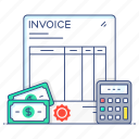 bill, business paper, financial file, invoice, voucher icon