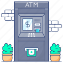 atm machine, atm withdrawal, banking, cash withdrawal, money transaction, money withdrawal icon