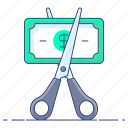 cost minimize, cut price, cutting, bargain, price reduction icon