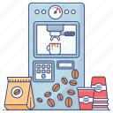 coffee machine, coffee maker machine, electronic appliance, home appliance, kitchen utensil icon