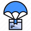 air, box, commerce, delivery, ecommerce, parachute, supply icon