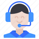 commerce, customer, ecommerce, girl, headphone, service, support icon