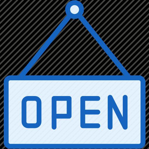 commerce, e, open, signboard icon